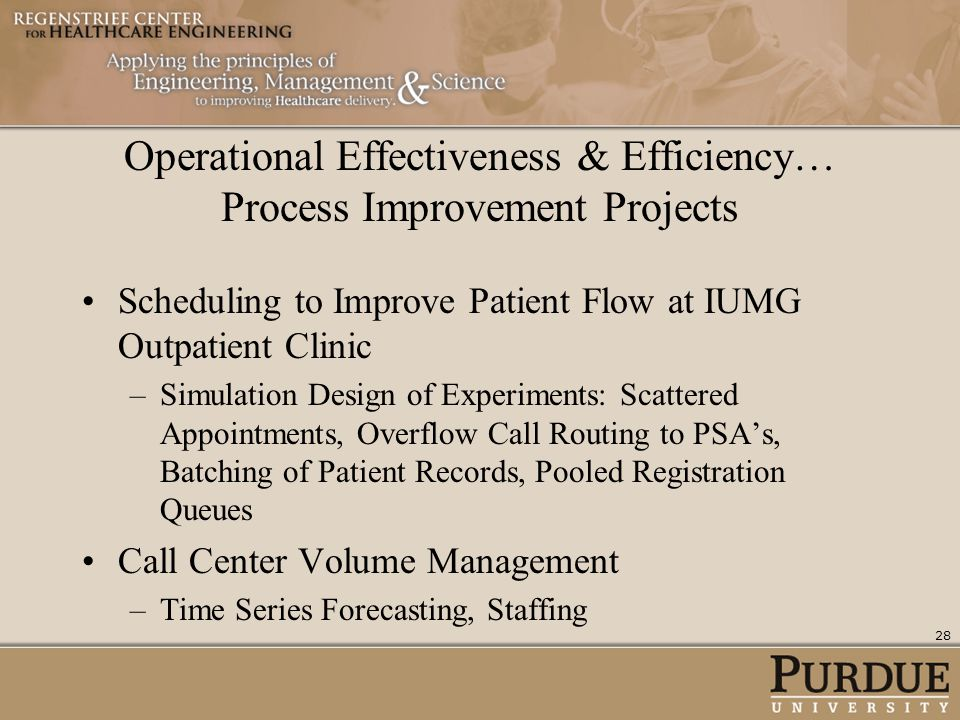 Operational Effectiveness & Efficiency… Process Improvement Projects Scheduling to Improve Patient Flow at IUMG Outpatient Clinic –Simulation Design o