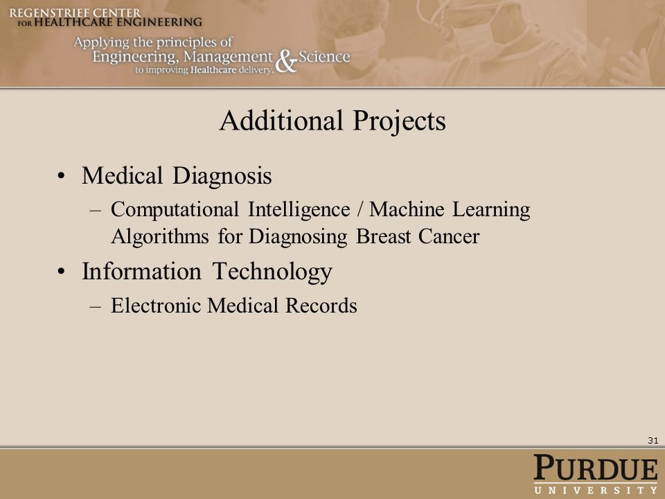 Additional Projects Medical Diagnosis –Computational Intelligence / Machine Learning Algorithms for Diagnosing Breast Cancer Information Technology –E