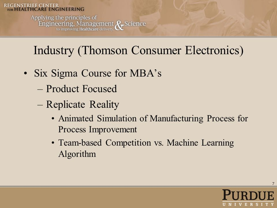 Industry (Thomson Consumer Electronics) Six Sigma Course for MBAs –Product Focused –Replicate Reality Animated Simulation of Manufacturing Process for