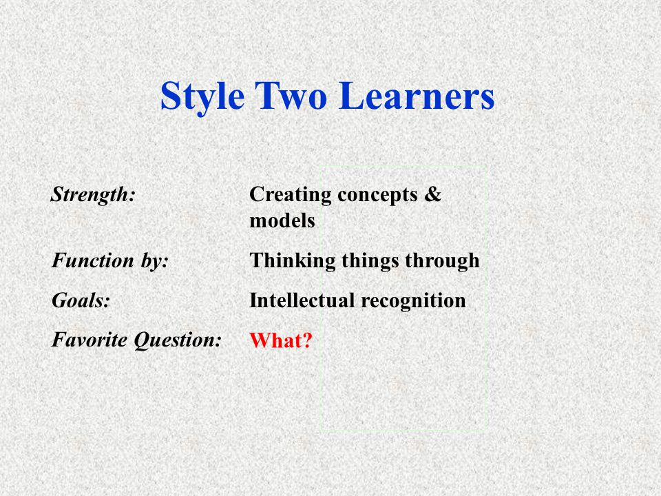 Style One Learners Strength:Innovation & ideas Function By:Value clarification Goals:To be involved in important issues and bring harmony. Favorite Qu