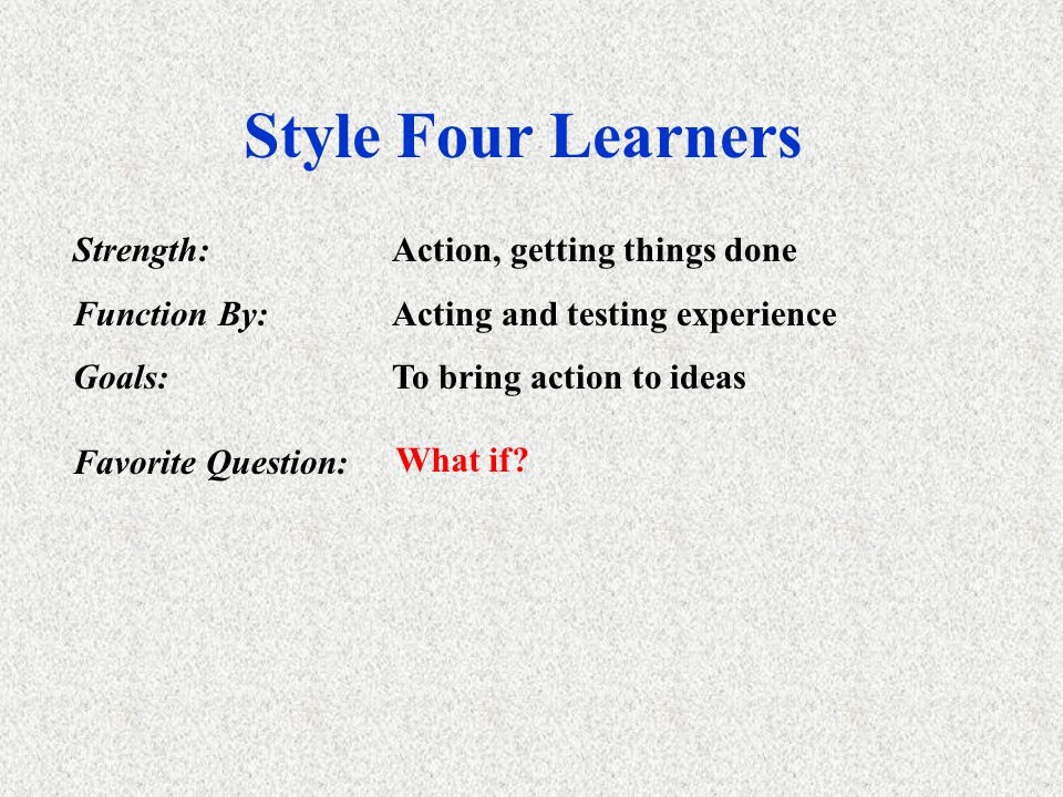 Style Three Learners Strength:Practical application of ideas Function By:Factual data fromhands on experience Goals:Align their view of present with f
