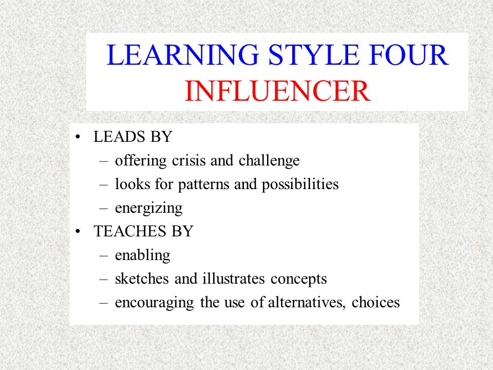 LEARNING STYLE THREE ACHIEVER LEAD BY –plans & timelines –favor productivity –shares knowledge of results TEACHES BY –matching curriculum to economic