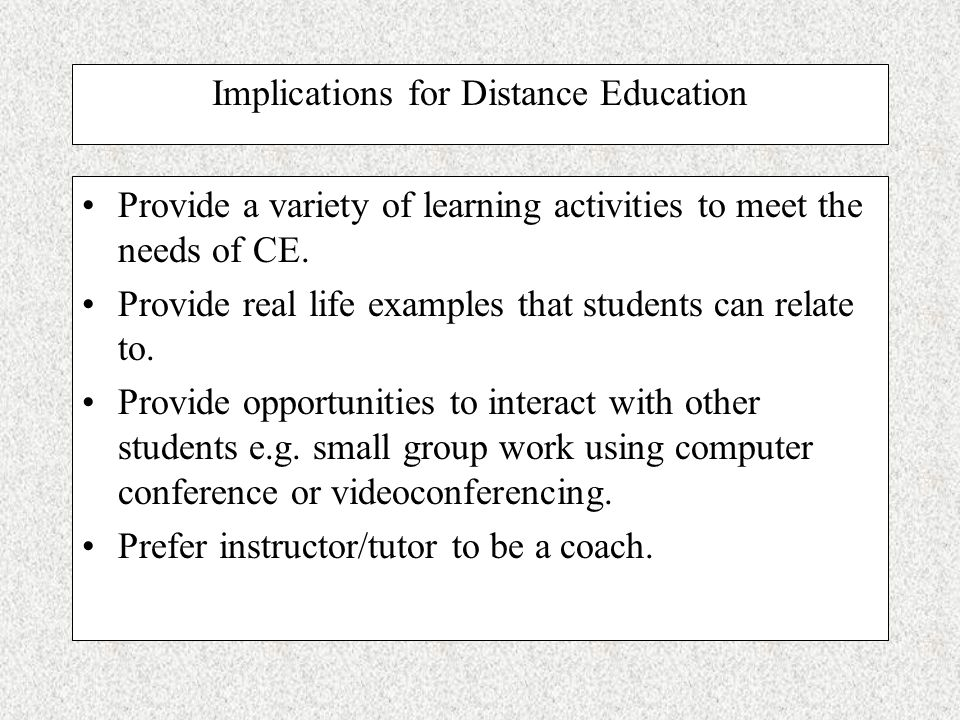 Concrete Experience (CE) Students who score high in the CE dimension prefer experience-based approach to learning that relies on feelings-based judgme