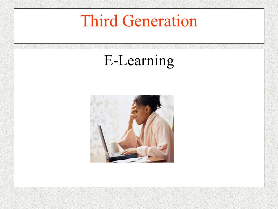 Third Generation E-Learning