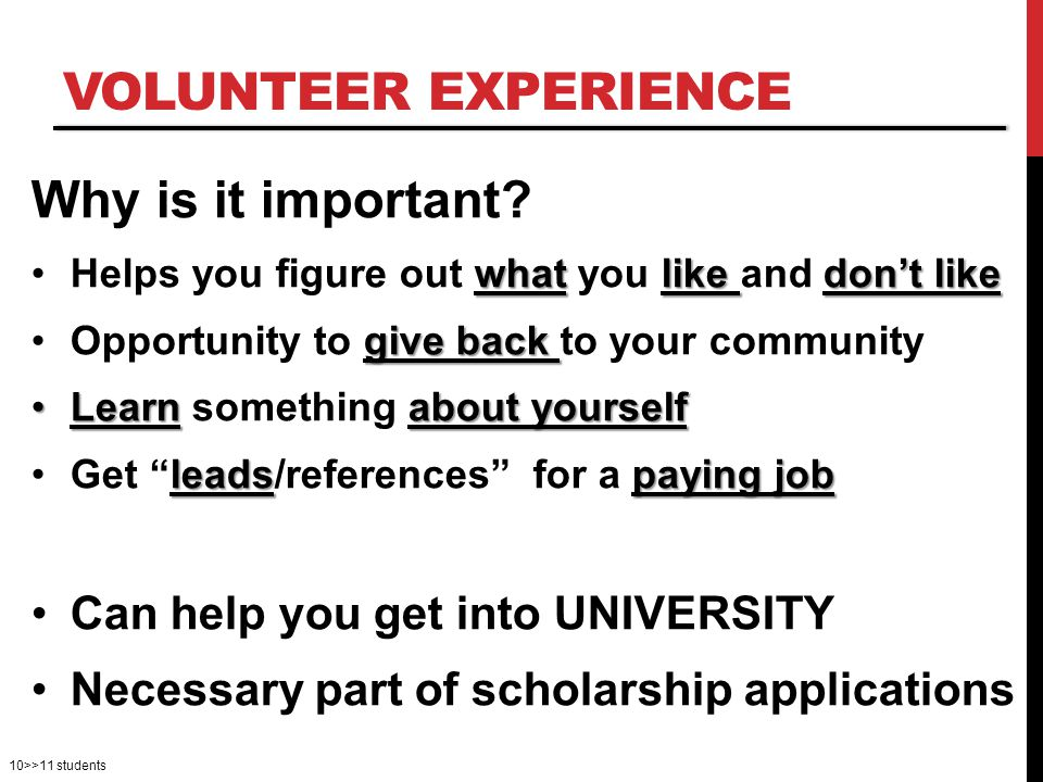 VOLUNTEER EXPERIENCE Why is it important.
