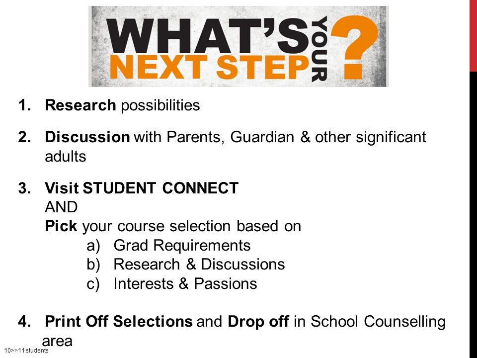 1.Research possibilities 2.Discussion with Parents, Guardian & other significant adults 3.Visit STUDENT CONNECT AND Pick your course selection based on a)Grad Requirements b)Research & Discussions c)Interests & Passions 4.Print Off Selections and Drop off in School Counselling area