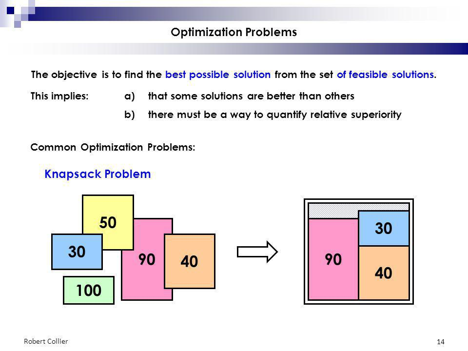 Robert Collier 14 90 100 50 40 30 90 Optimization Problems The objective is to find the best possible solution from the set of feasible solutions. Thi