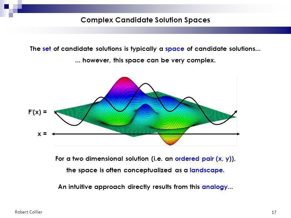 Robert Collier 17 Complex Candidate Solution Spaces The set of candidate solutions is typically a space of candidate solutions...... however, this spa