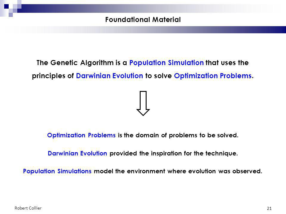 Robert Collier 21 Foundational Material The Genetic Algorithm is a Population Simulation that uses the principles of Darwinian Evolution to solve Optimization Problems.