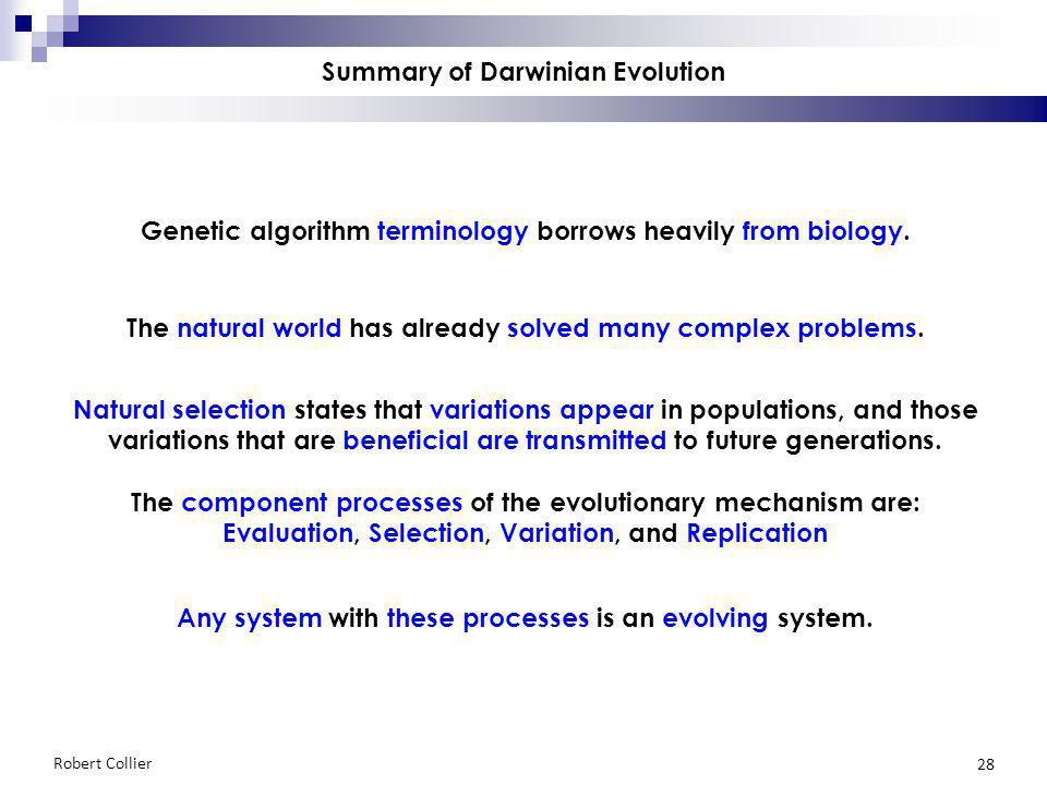 Robert Collier 28 Summary of Darwinian Evolution Genetic algorithm terminology borrows heavily from biology.