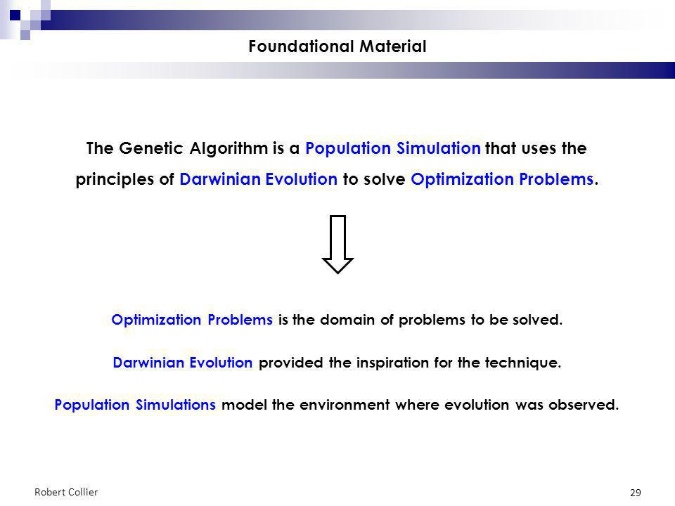 Robert Collier 29 Foundational Material The Genetic Algorithm is a Population Simulation that uses the principles of Darwinian Evolution to solve Optimization Problems.