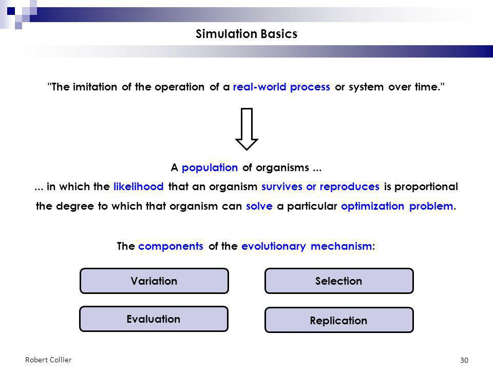 Robert Collier 30 Simulation Basics The imitation of the operation of a real-world process or system over time. A population of organisms......