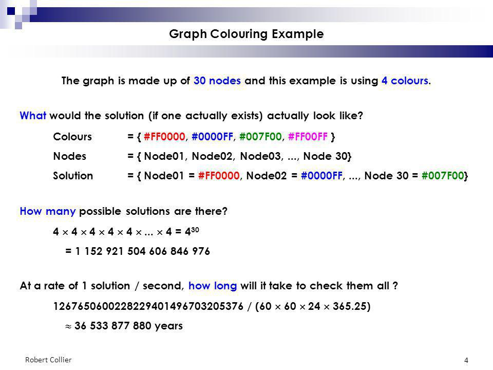 Robert Collier 4 Graph Colouring Example The graph is made up of 30 nodes and this example is using 4 colours.