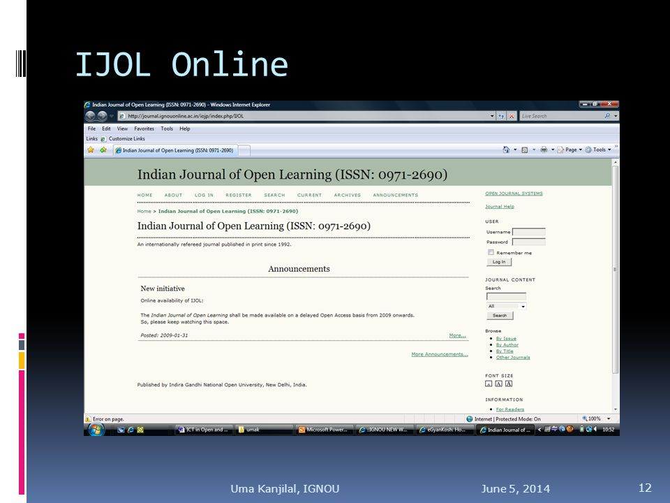 IJOL Online June 5, 2014 12 Uma Kanjilal, IGNOU