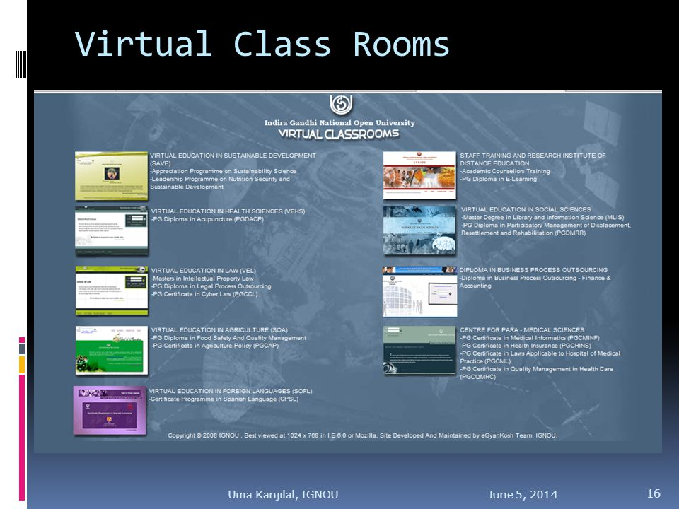 Virtual Class Rooms June 5, Uma Kanjilal, IGNOU