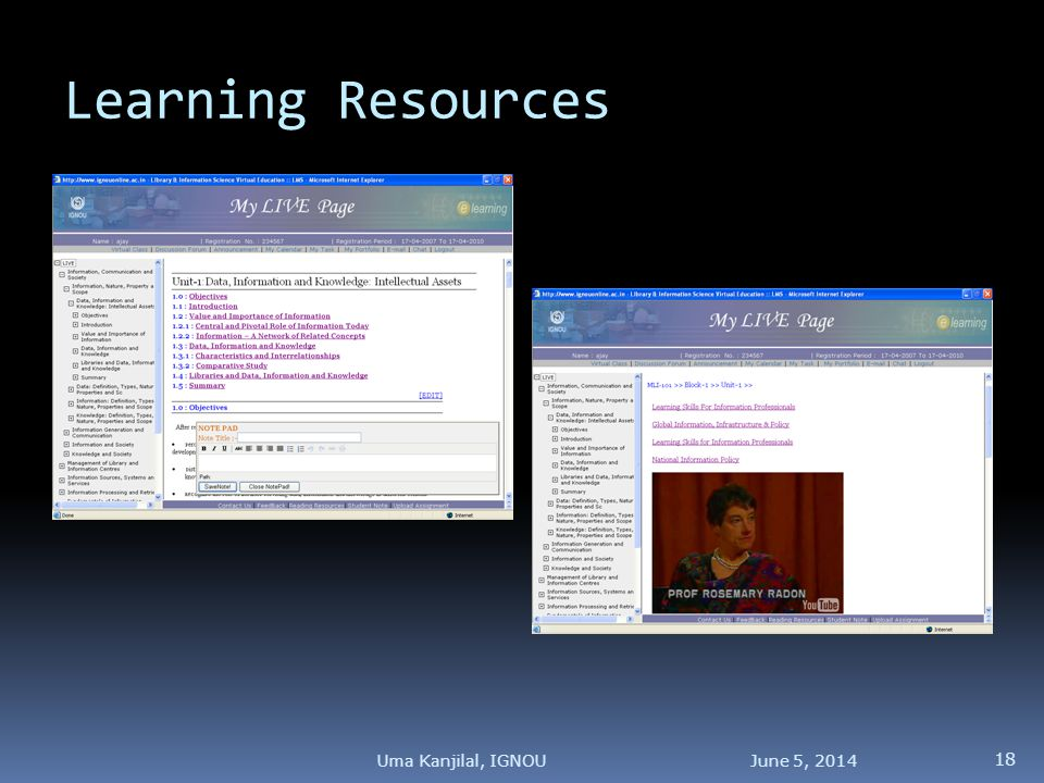 Learning Resources June 5, Uma Kanjilal, IGNOU