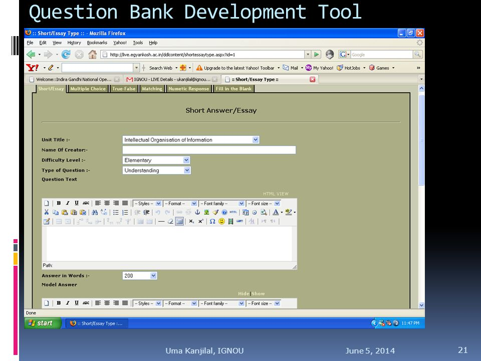 Question Bank Development Tool June 5, Uma Kanjilal, IGNOU