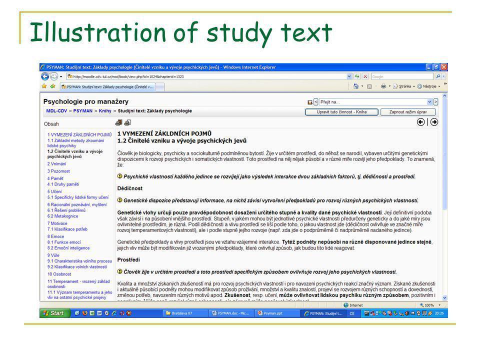 Illustration of study text