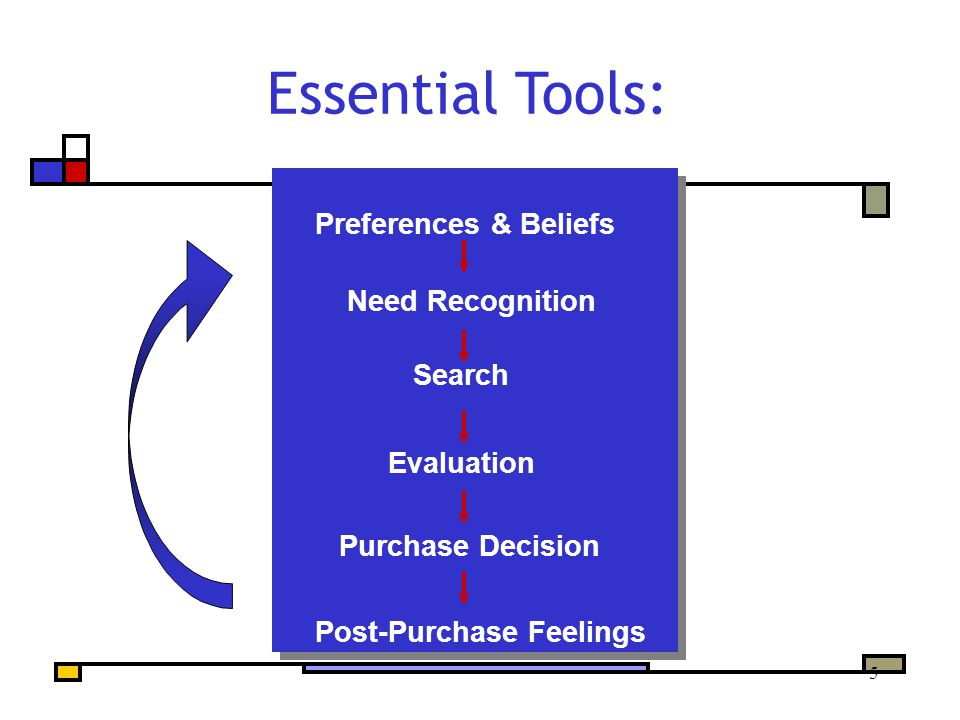 16 Preferences & Beliefs Need Recognition Search Evaluation Purchase Decision Post-Purchase Feelings Essential Tools: sources of influence