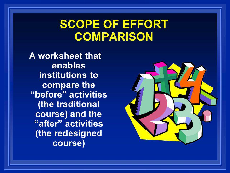 SCOPE OF EFFORT COMPARISON A worksheet that enables institutions to compare the before activities (the traditional course) and the after activities (the redesigned course)