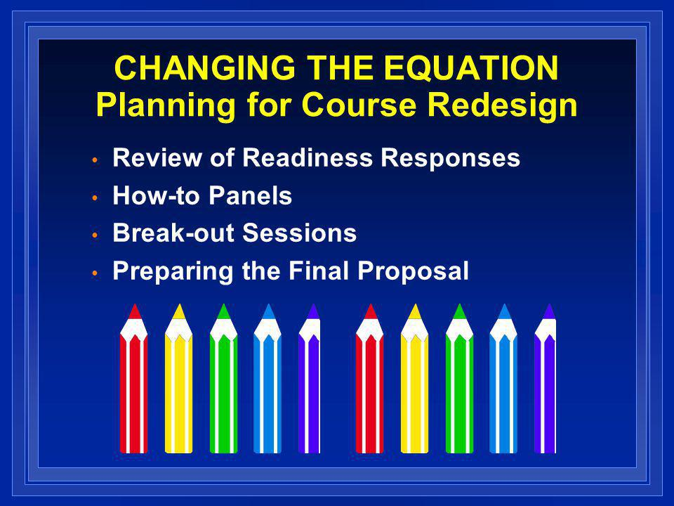 CHANGING THE EQUATION Key Characteristics Goal: to scale a proven innovation that increases student success at reduced cost, the Emporium Model 25+ institutions will be selected to receive a $40,000 grant Support collaboration among NCAT staff, Redesign Scholars and institutional teams Key elements that you must include – 1) Emporium Model – 2) Modularization – 3) All remedial and developmental courses