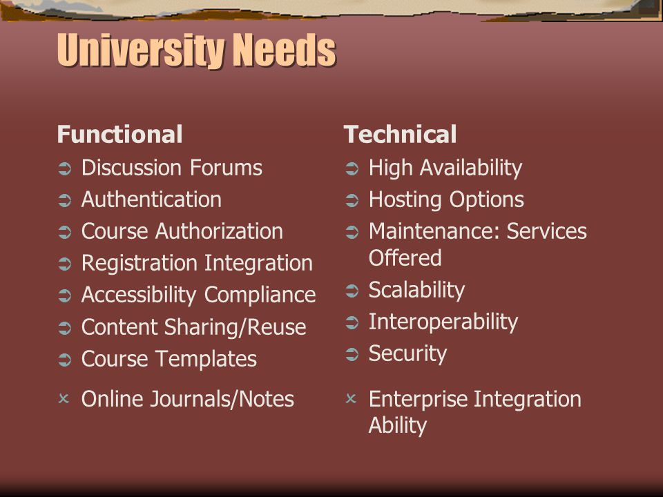 University Needs Functional Discussion Forums Authentication Course Authorization Registration Integration Accessibility Compliance Content Sharing/Reuse Course Templates Technical High Availability Hosting Options Maintenance: Services Offered Scalability Interoperability Security Online Journals/Notes Enterprise Integration Ability