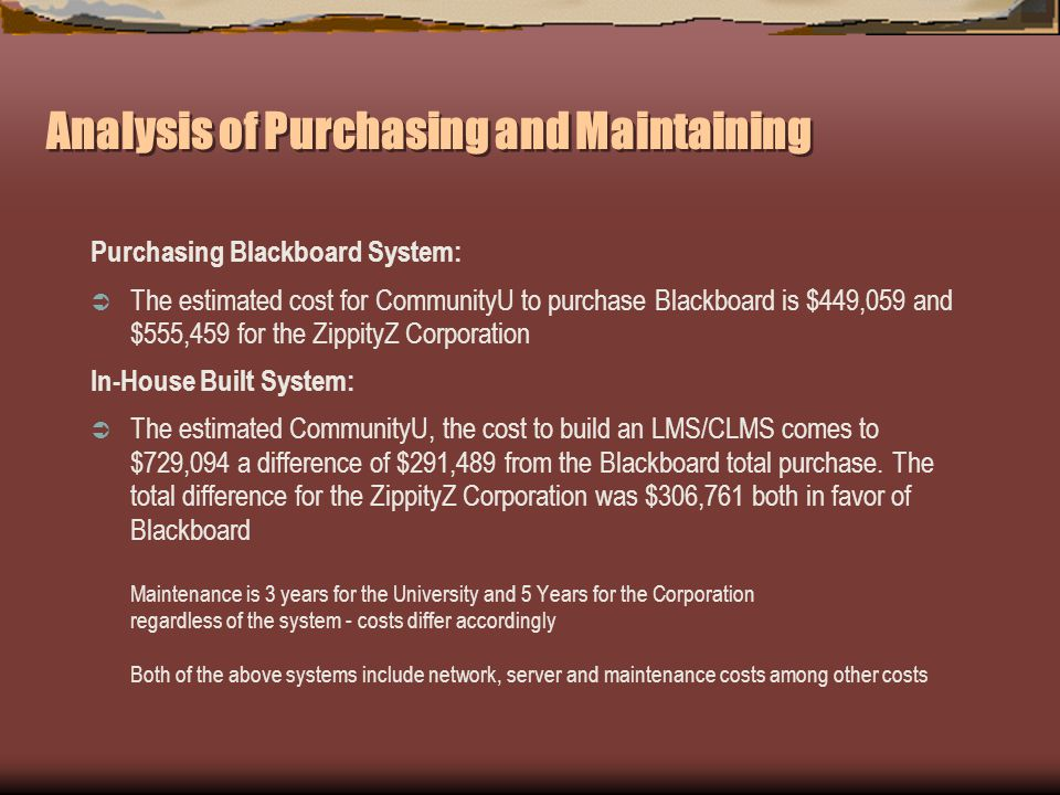 Analysis of Purchasing and Maintaining Purchasing Blackboard System: The estimated cost for CommunityU to purchase Blackboard is $449,059 and $555,459 for the ZippityZ Corporation In-House Built System: The estimated CommunityU, the cost to build an LMS/CLMS comes to $729,094 a difference of $291,489 from the Blackboard total purchase.