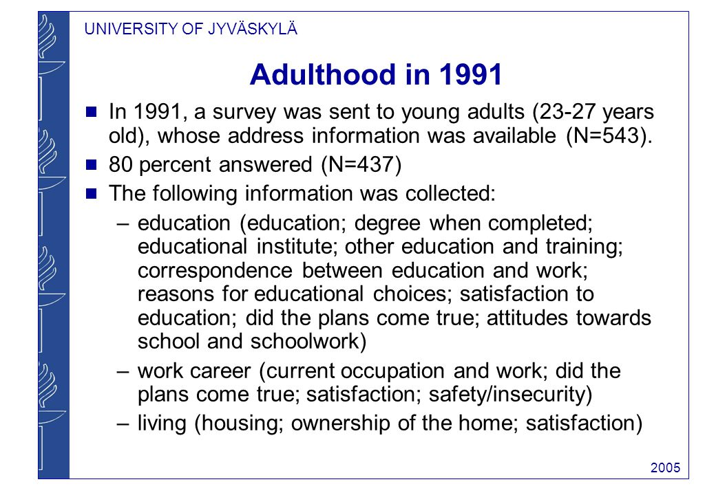 UNIVERSITY OF JYVÄSKYLÄ 2005 Adulthood in 1991 In 1991, a survey was sent to young adults (23-27 years old), whose address information was available (N=543).