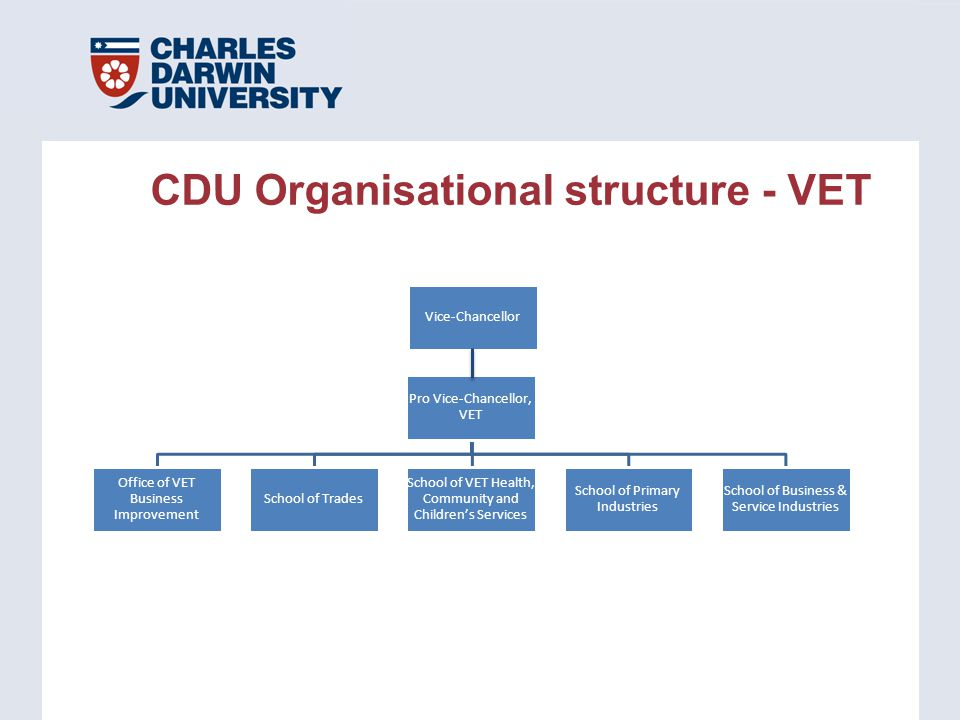 Vice-Chancellor Pro Vice-Chancellor, VET School of Business & Service Industries School of Primary Industries School of VET Health, Community and Childrens Services School of Trades Office of VET Business Improvement CDU Organisational structure - VET