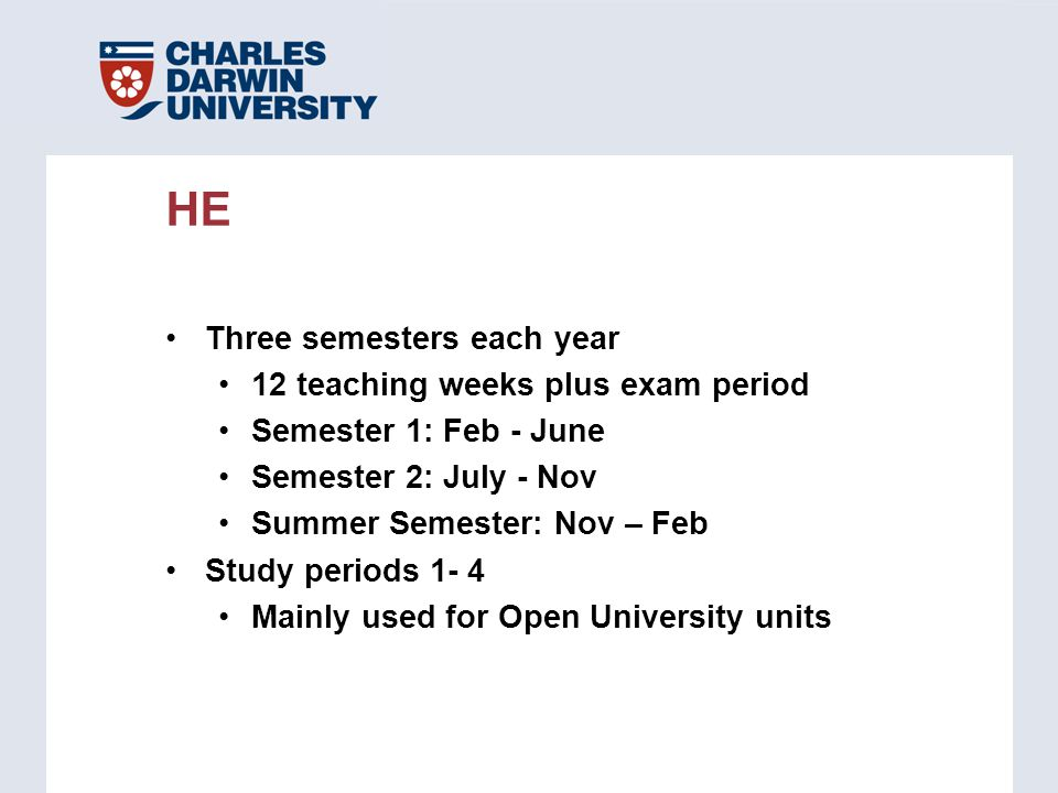Three semesters each year 12 teaching weeks plus exam period Semester 1: Feb - June Semester 2: July - Nov Summer Semester: Nov – Feb Study periods 1-