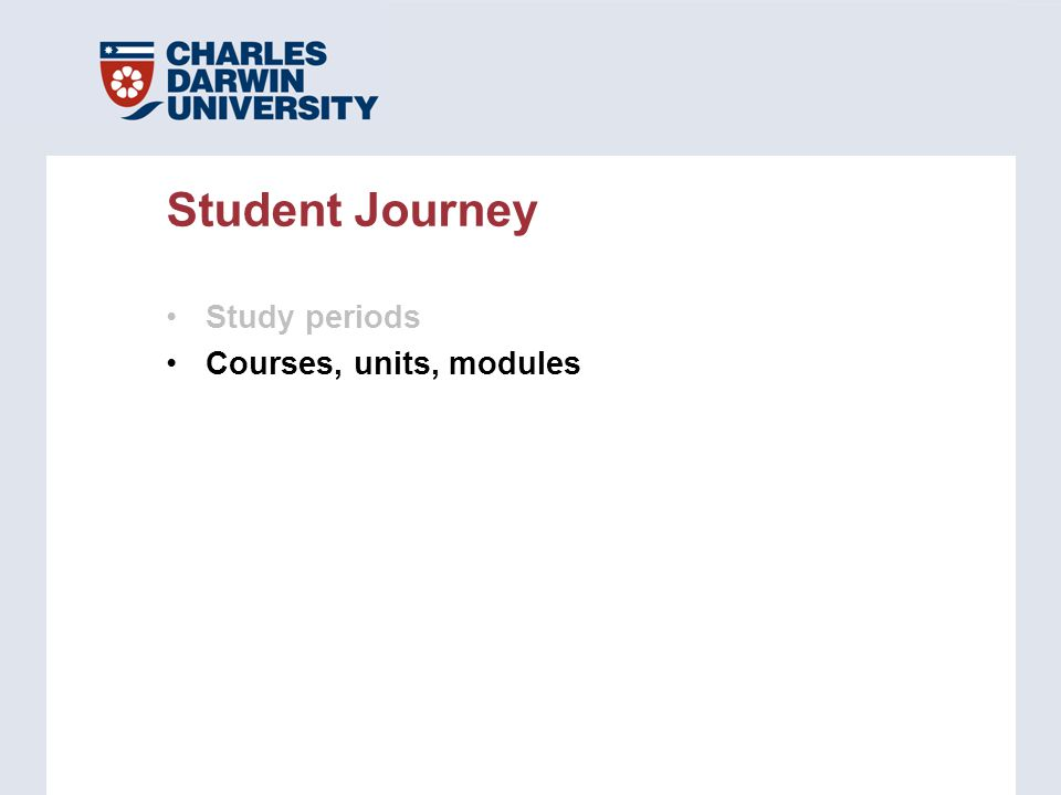 Study periods Courses, units, modules Student Journey