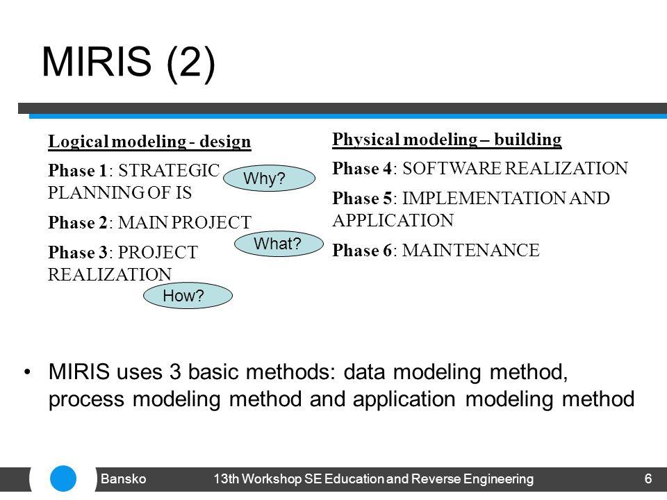 MIRIS (2) MIRIS uses 3 basic methods: data modeling method, process modeling method and application modeling method 613th Workshop SE Education and Reverse EngineeringBansko Logical modeling - design Phase 1: STRATEGIC PLANNING OF IS Phase 2: MAIN PROJECT Phase 3: PROJECT REALIZATION Physical modeling – building Phase 4: SOFTWARE REALIZATION Phase 5: IMPLEMENTATION AND APPLICATION Phase 6: MAINTENANCE Why.