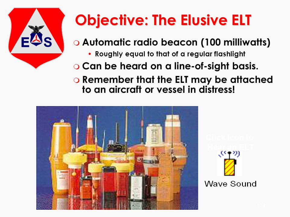 ©2000 Scott E. Lanis132 Objective: The Elusive ELT m Automatic radio beacon (100 milliwatts) Roughly equal to that of a regular flashlight m Can be he