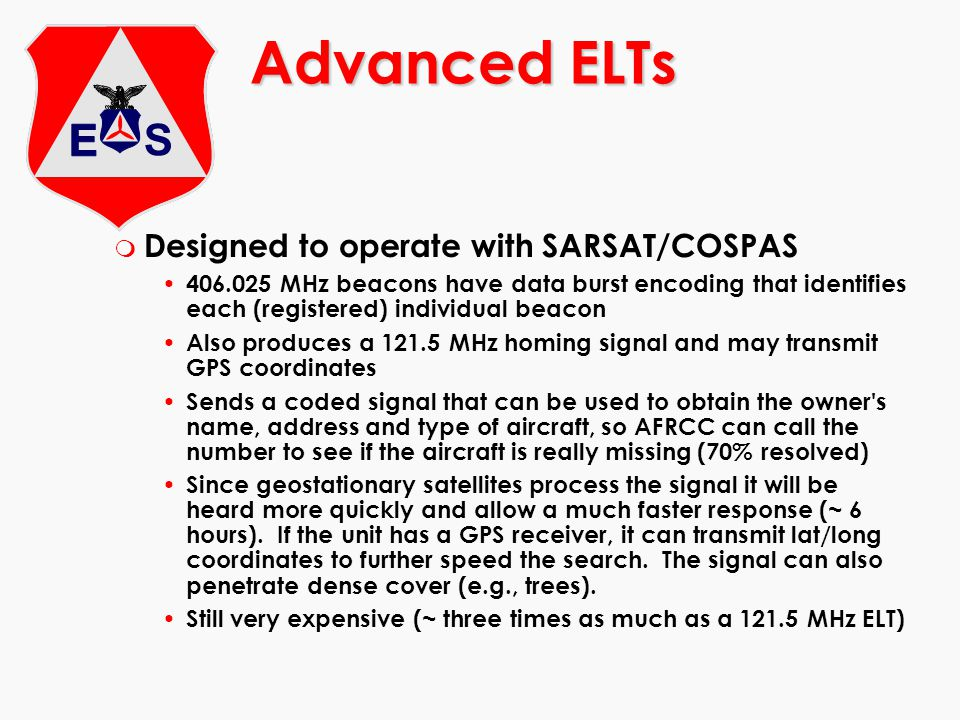 m Designed to operate with SARSAT/COSPAS 406.025 MHz beacons have data burst encoding that identifies each (registered) individual beacon Also produce