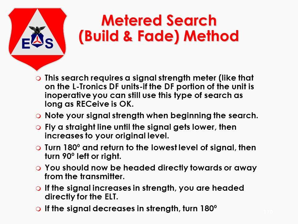 ©2000 Scott E. Lanis170 Metered Search (Build & Fade) Method m This search requires a signal strength meter (like that on the L-Tronics DF units-if th