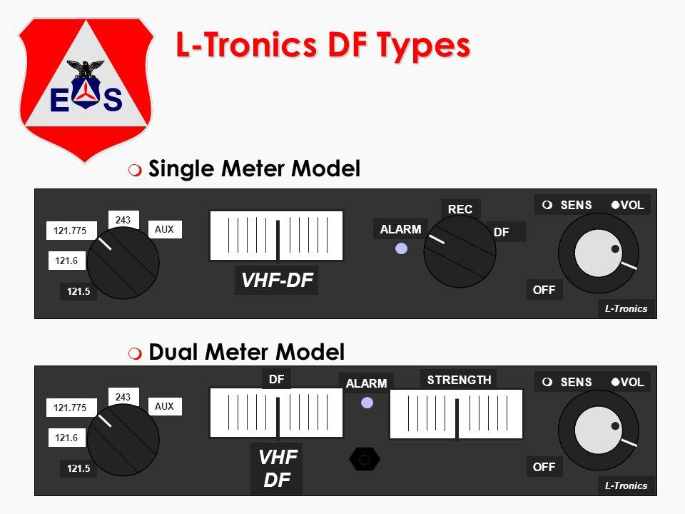 ©2000 Scott E. Lanis173 L-Tronics DF Types m Single Meter Model m Dual Meter Model L-Tronics ALARM OFF 243 121.6 121.775 AUX 121.5 SENS VOL VHF DF DF