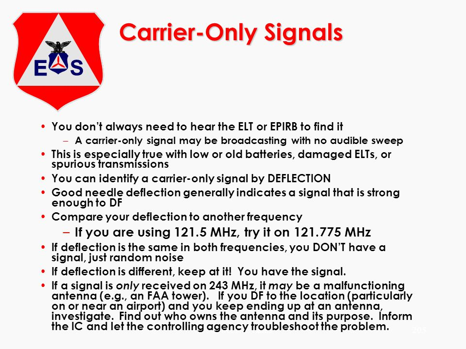 ©2000 Scott E. Lanis205 Carrier-Only Signals You dont always need to hear the ELT or EPIRB to find it – A carrier-only signal may be broadcasting with
