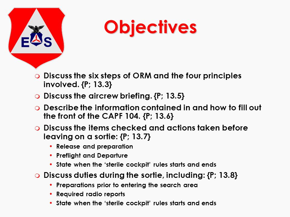 m Discuss the six steps of ORM and the four principles involved. {P; 13.3} m Discuss the aircrew briefing. {P; 13.5} m Describe the information contai