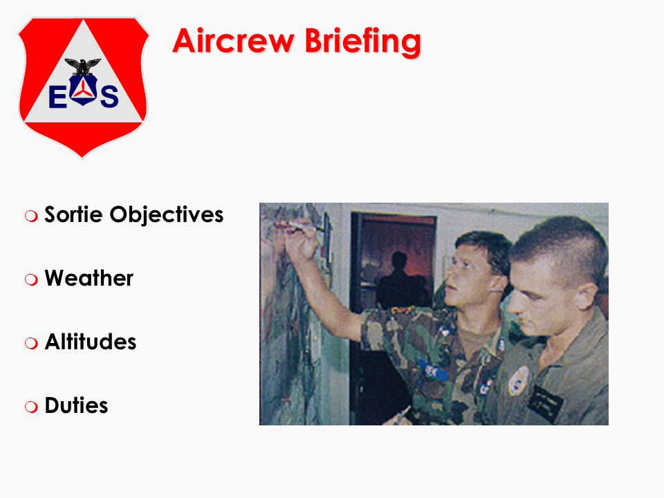 Aircrew Briefing m Sortie Objectives m Weather m Altitudes m Duties