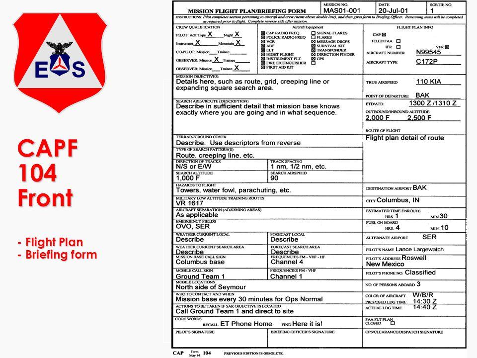 CAPF 104 Front - Flight Plan - Briefing form