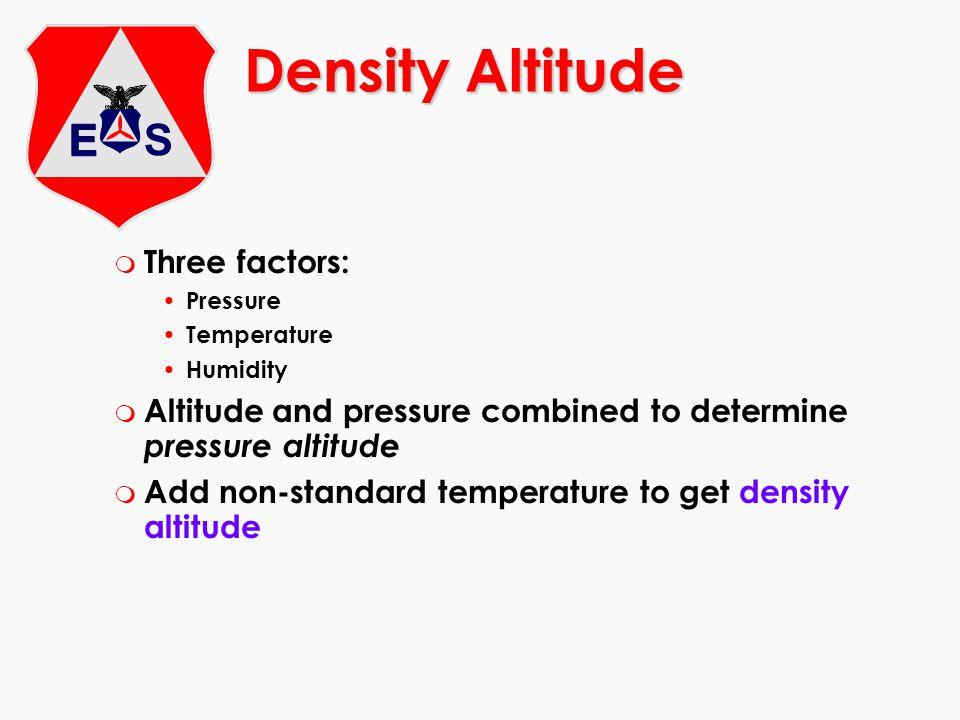 m Three factors: Pressure Temperature Humidity m Altitude and pressure combined to determine pressure altitude m Add non-standard temperature to get d