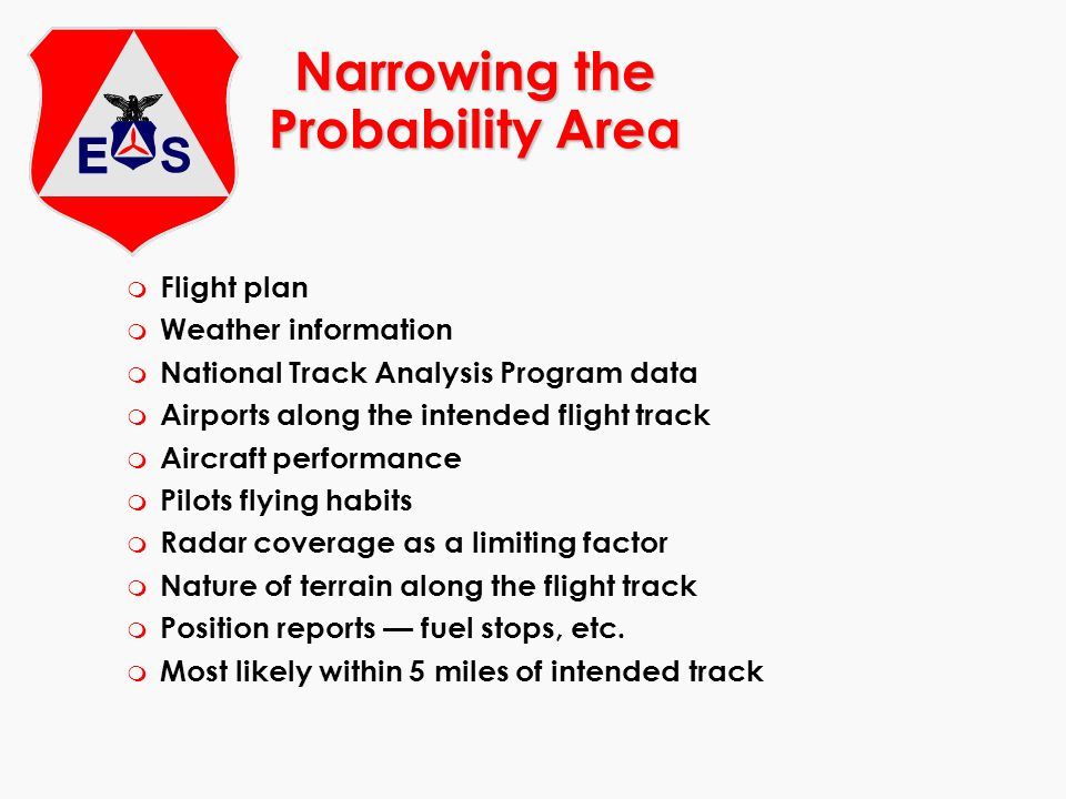 Narrowing the Probability Area m Flight plan m Weather information m National Track Analysis Program data m Airports along the intended flight track m
