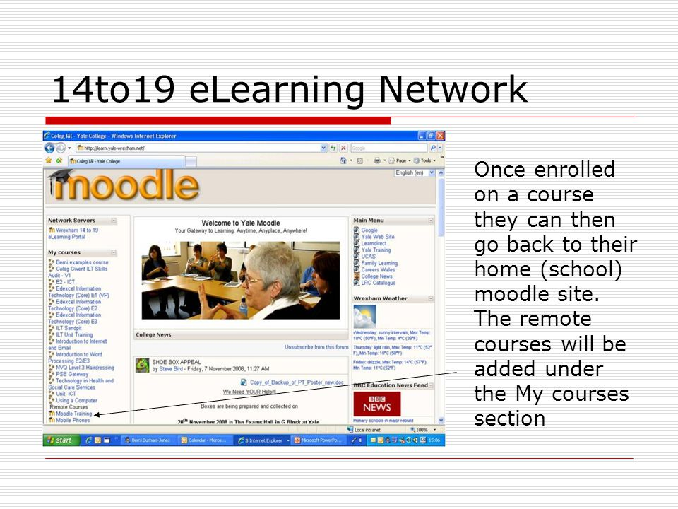 Once enrolled on a course they can then go back to their home (school) moodle site.