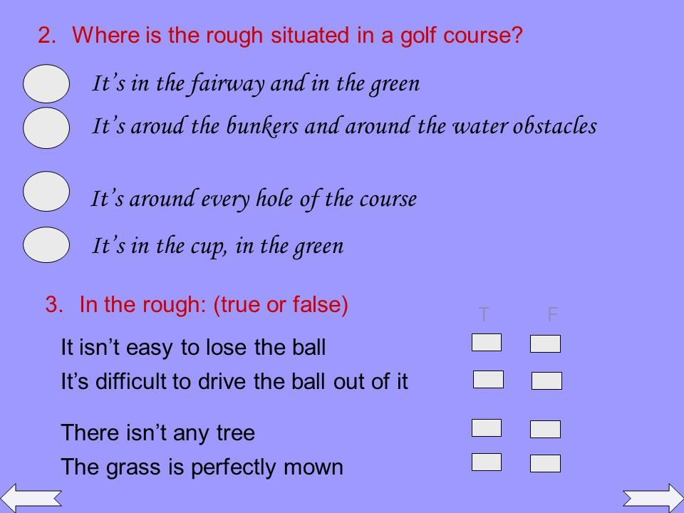 2.Where is the rough situated in a golf course.