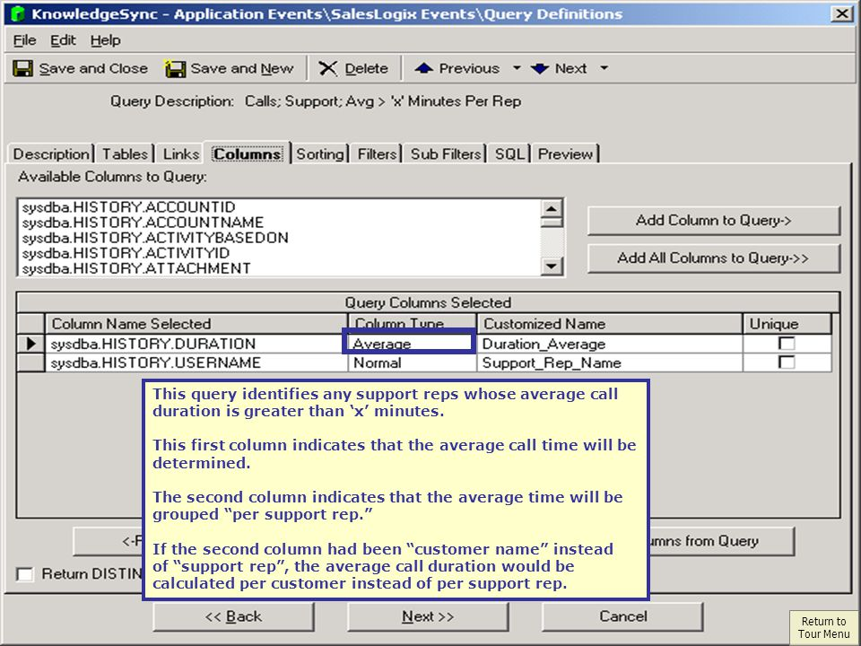 This query identifies any support reps whose average call duration is greater than x minutes.