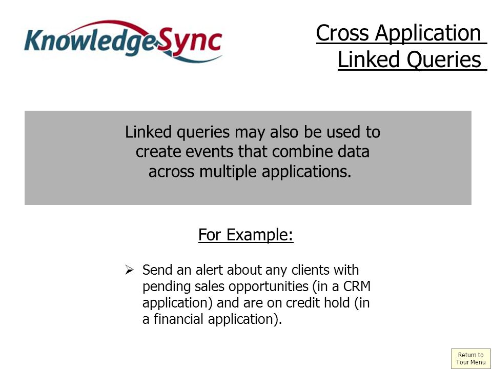 Linked queries may also be used to create events that combine data across multiple applications.