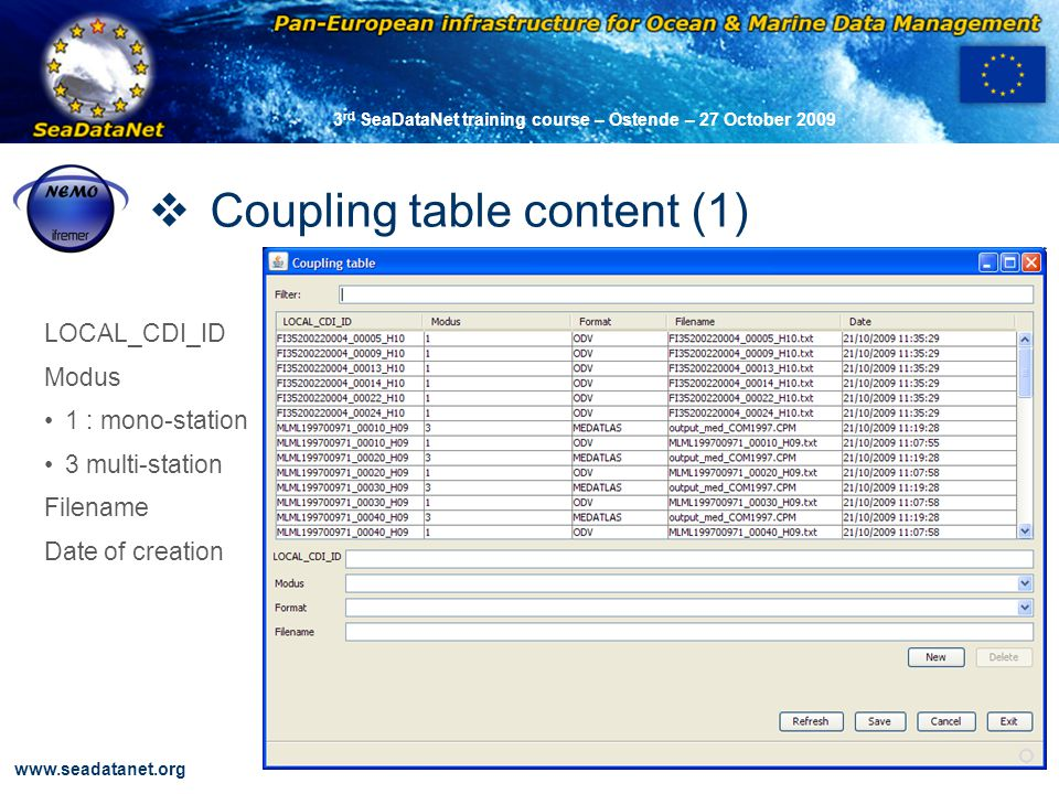 OBSERVATIONS & PRÉVISIONS CÔTIÈRES 44 www.seadatanet.org 3 rd SeaDataNet training course – Ostende – 27 October 2009 Coupling table content (1) LOCAL_CDI_ID Modus 1 : mono-station 3 multi-station Filename Date of creation