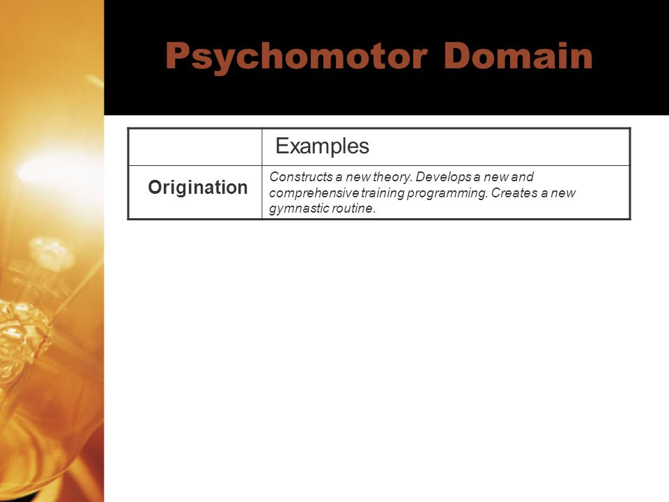 Psychomotor Domain Examples Origination Constructs a new theory. Develops a new and comprehensive training programming. Creates a new gymnastic routin