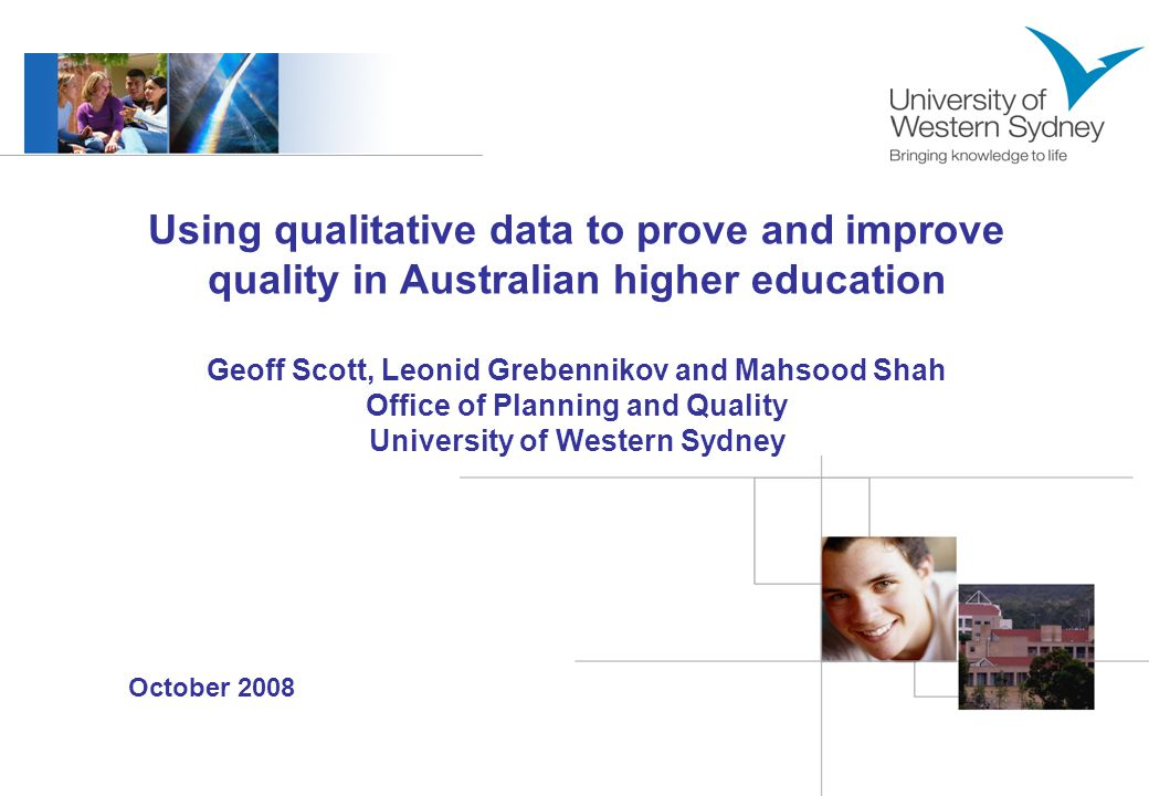 2 Introduction –Limited use of qualitative data in institutional performance assessment –Advantages and benefits of using qualitative data –UWS experience in the systematic analysis of the qualitative data from student feedback surveys Method –CEQuery qualitative analysis tool –Comparative analysis of qualitative data generated by three key UWS student surveys Results and discussion Implications Outline
