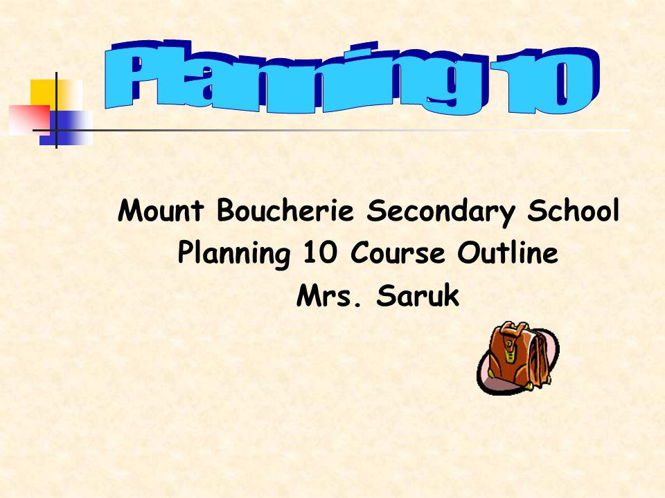 Mount Boucherie Secondary School Planning 10 Course Outline Mrs. Saruk